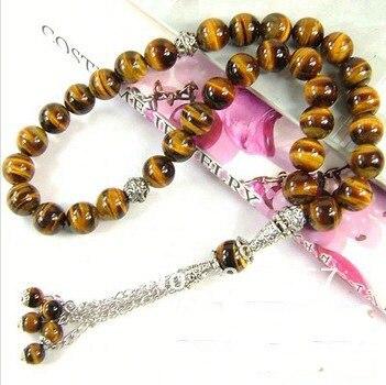 Natural 33 Tiger Eyes 8MM Stone Round Shape  Gem Stone  Kehribar Tesbih Islamic Muslim prayer beadsTasbih Allah  free shipping