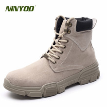NINYOO New Autumn Winter Boots Men Genuine Leather Ankle Shoes Western Martens Waterproof Outdoor Military Big Size 45 46