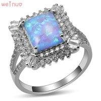 Weinuo Blue Fire Opal Biały Kryształ Pierścień 925 Sterling Silver Top Quality Fancy Biżuteria Wedding Ring Rozmiar 5 6 7 8 9 10 11 A437