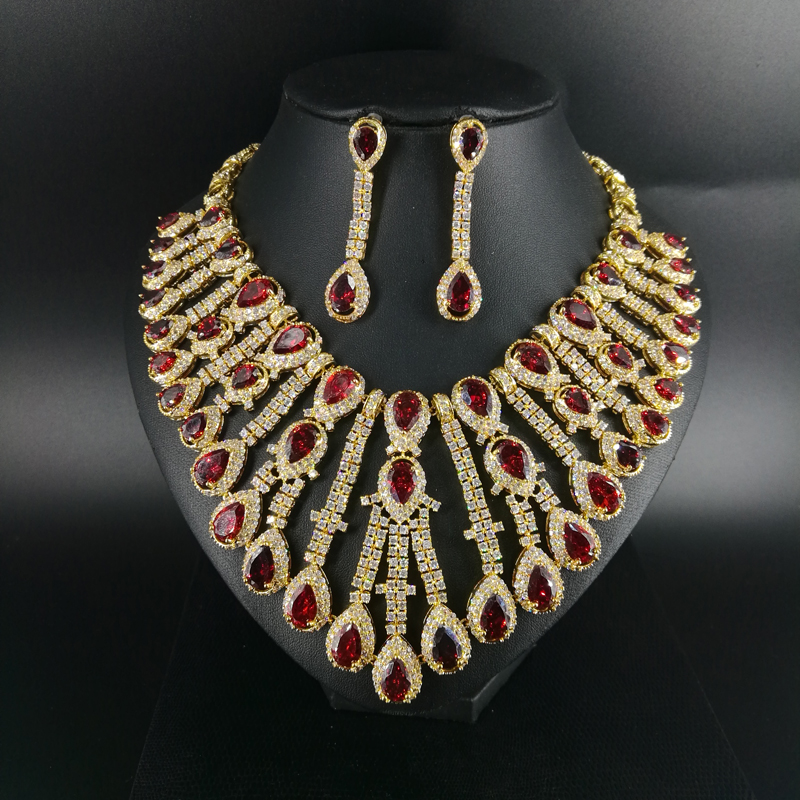 2019 new fashion Luxury Cleopatra red droplet zircon wedding necklace set bride dressing dinner ball party