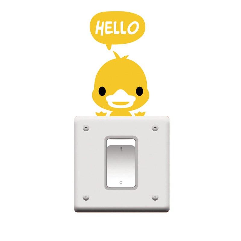 3 UNIDS Pato Amarillo Interruptor Etiqueta de La Pared Pegatinas Decoración Del