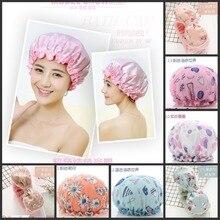 цена на Waterproof adult female shower bath shower cap shampoo cap cute hood kitchen ladies smoke cap