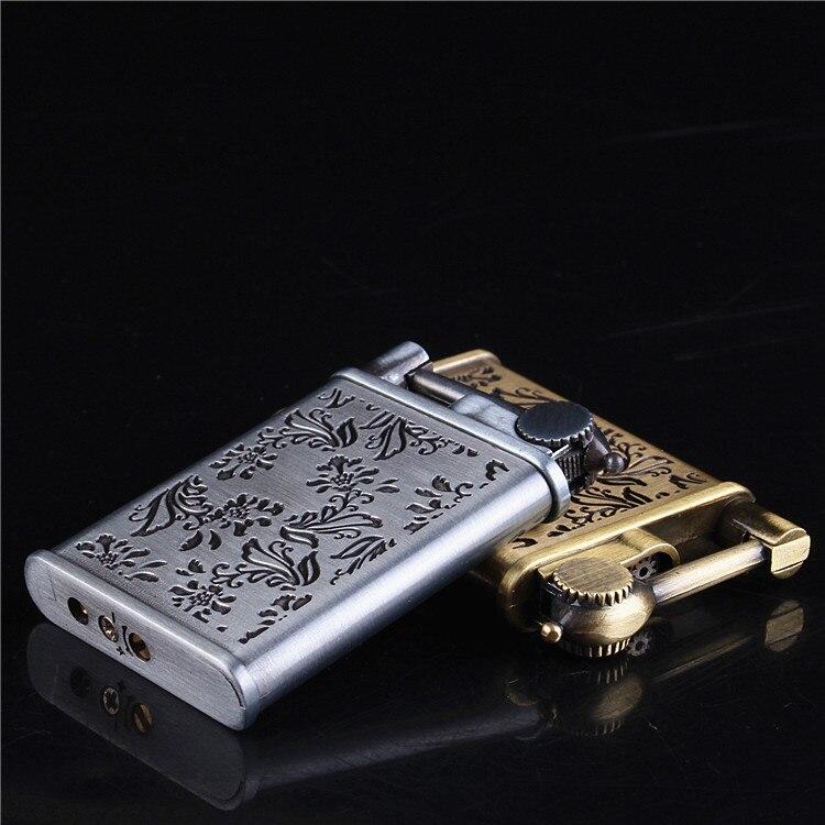 Personality Stainless Steel Carving Cigarette Lighter Fuel Kerosene Old Style Men Smoking Lighter Tobacco Military Lighter
