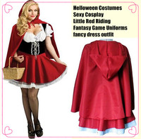 Halloween Costumes for Women Sexy Cosplay Little Red Riding Hood Fantasy Game Uniforms Fancy Dress Outfit,S/M/L/XL/XXL/XXXL
