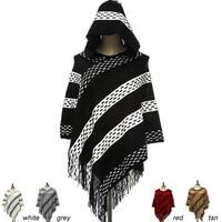 New Arrival Women Hooded Shawl Autumn Winter Knitted Tassel Ponchos High Grade Acrylic Soft Warm Hoodies