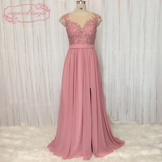 SuperKimJo Vestido De Festa Lace Beaded Chiffon Prom Dresses with Cap  Sleeves A Line Cheap Dusty Pink Evening Dresses Long 8a2207958e3a