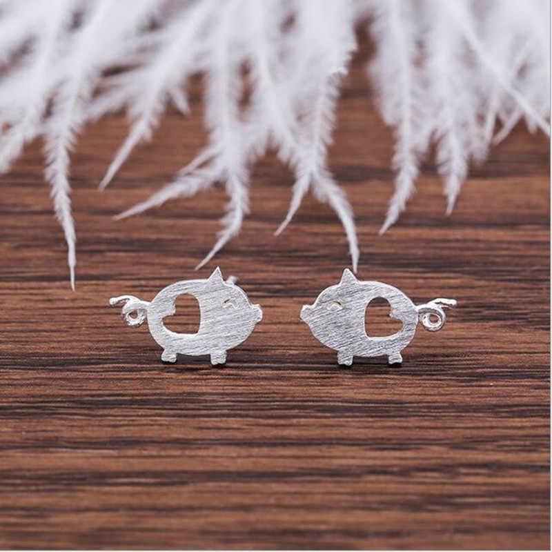 Nowe mody Handmade 925 srebro pozłacane osobowości twórczej kreskówki słodkie świnie kobiet popularne kolczyki SE226