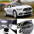 eeMrke Car Styling Led DRL For Ford Mustang 2015 2016 2 in 1 LED Fog Lights Lamp With Q5 Lens Daytime Running Lights