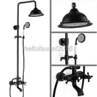 Black Oil Antique Brass Bathroom 8 2 Inch Large Rain Shower Faucet Set Wall Mounted Dual