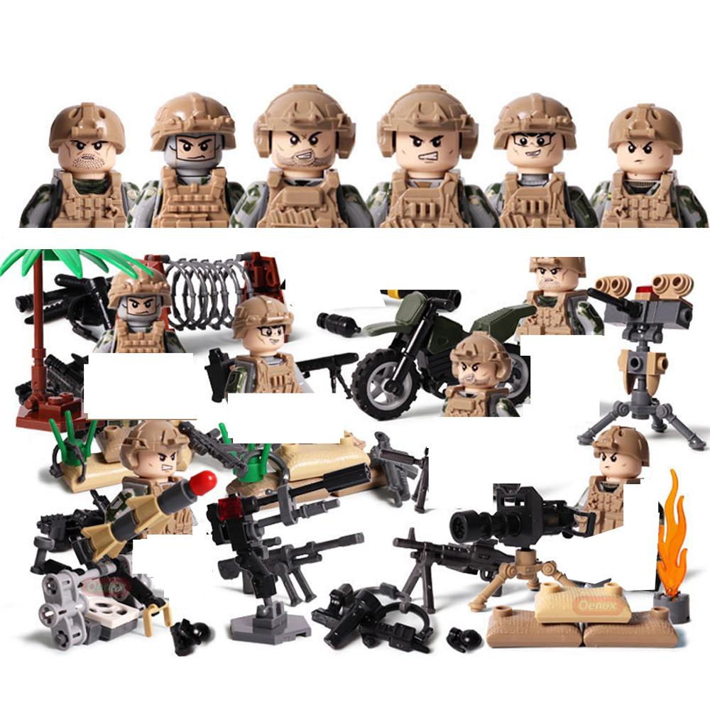 hot military WW2 Germany Field Army Jungle war Building Blocks mini soldier figures model weapon cannon bricks toys for children in Blocks from Toys Hobbies