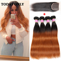 Brazilian Straight Virgin Hair Bundle Deals Lace Closure With 4 Bundles Brazilian Straight Hair With Closure Ombre Human Hair