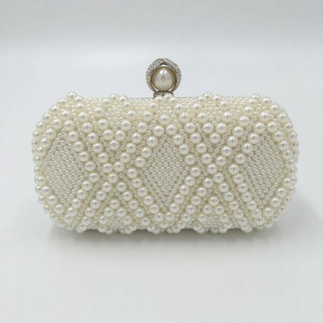 2017 New Women Elegant Beaded Evening Bag Designer Handbags Fashion Unique Dinner Clutch White Pearl Bride