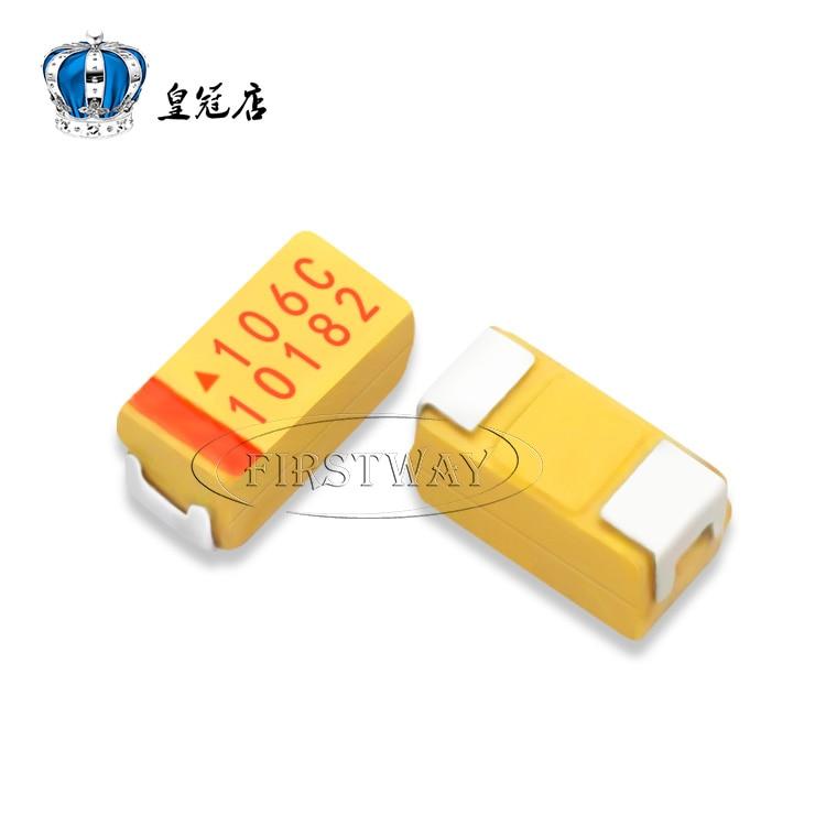 100 шт./лот SMD Тантал конденсатор 106C 10 мкФ 16 В Тип 3216 1206 танталовый конденсатор зеленый, желтый