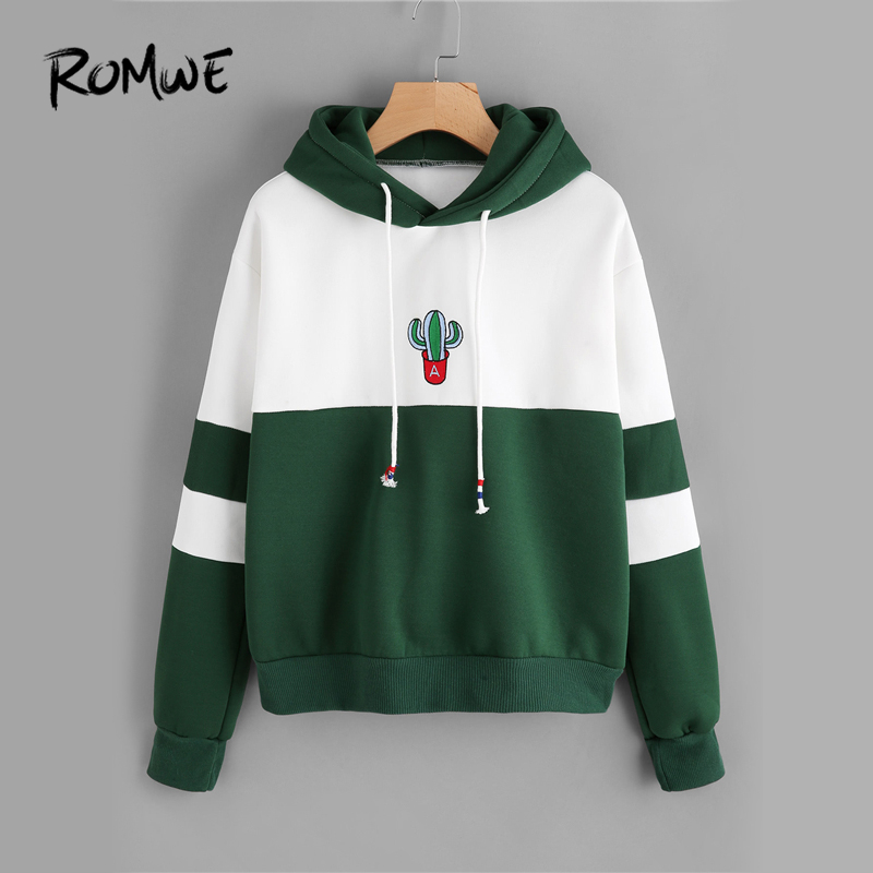 b1b254da23 ROMWE Drawstring Color Block Cactus Embroidered Hoodie Spring Autumn Long  Sleeve Ladies Casual Sporty Pullovers Sweatshirt