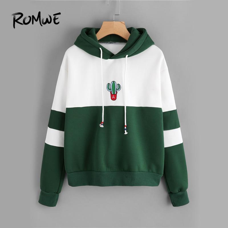 ROMWE Kordelzug Farbe Block Kaktus Bestickt Hoodie 2018 Frühling Herbst Langarm Damen Beiläufige Sportliche Pullover Sweatshirt
