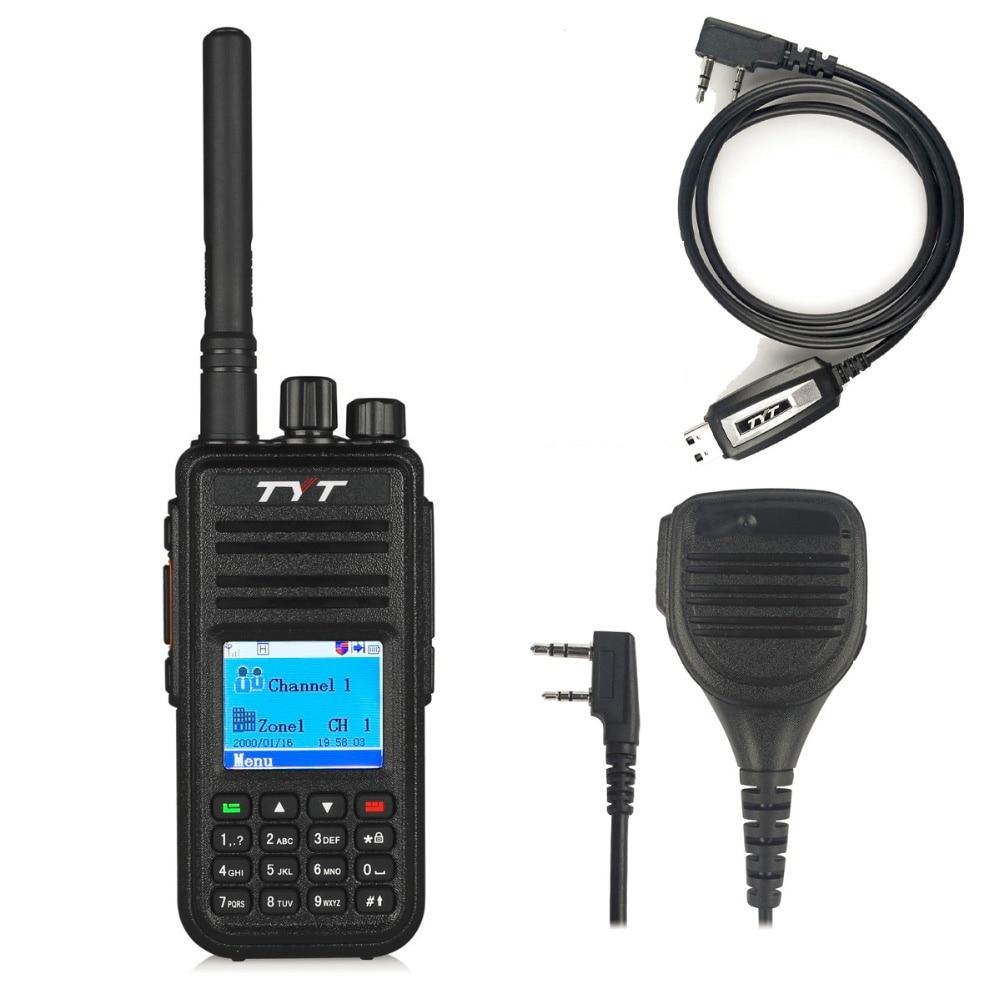 TYT MD 380 UHF 400 480 МГц цифровое радио DMR 1000 каналы двухканальные рации с кабелем для программирования md380 + оригинальный удаленный динамик