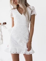 High Quality White Pink Black Lace Aline Rayon Bandage Dress Cocktail Party Cute Dress