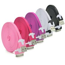 30PIN Noodles 1m 3.3ft Micro USB Adapter Sync Data Charging Charger Cable Cord for Apple iPhone 4 4S iPad 2 3 Drop Shipping