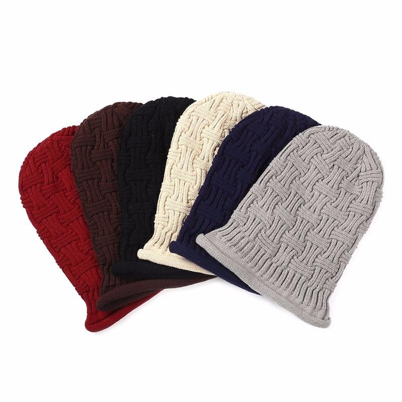 Interwoven Stripe Knitted Hat Slouchy Baggy Winter Curling Beanie Cap Unisex aetrue brand knitted hat winter beanies men caps mask gorras bonnet warm baggy winter hats for men women skullies beanies hats