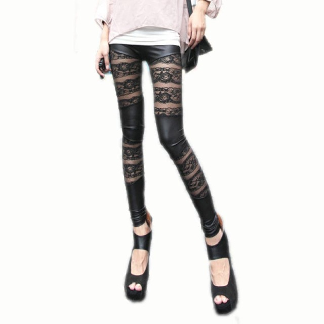 Lace Leather Leggings Europe Stylish New Women's Leggings Slim Pants Rose Mosaic Trousers Black Leggings Lace Leather Leggings