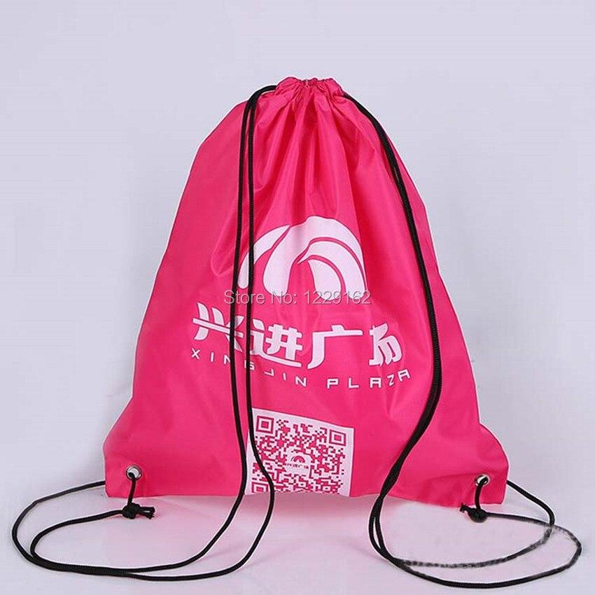 Impresión personalizada bolsa con cordón de poliéster (300 unids/lote) 30x40 cm bolsa de regalo promocional zapatos bolsa de almacenamiento mochila con cordón