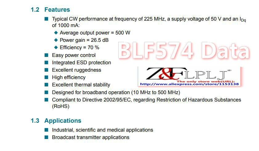 Image 2 - BLF574 BLF 574/A 500 W à 600 W 50V 26.5dB transistor de puissance LDMOS (non neuf) utilisé 1 pièces/lot-in Circuits intégrés from Composants électroniques et fournitures on AliExpress
