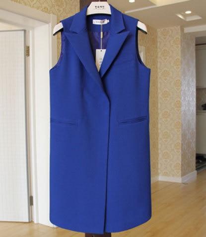 Masivní kryté knoflíky plus velikost dlouhé ženy sako vesta elegantní kapsy bez rukávů pas v pasu Chaleco Mujer