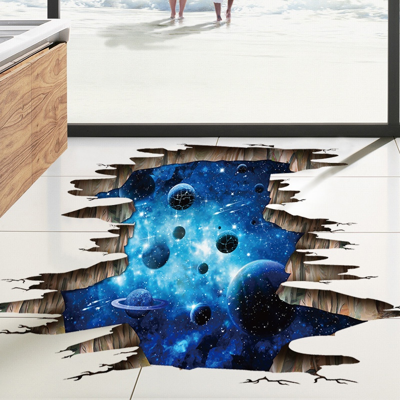 3D Cosmic Space Galaxy Children Wall Stickers For Kids Rooms Nursery Baby Bedroom Home Decoration Decals Flooor Murals(China)