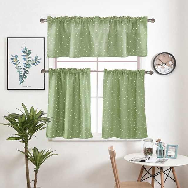 1 Piece Rod Pocket Star Hot stamping Short Curtains Valance Tie For Small Window Blackout Drapes Roman Kitchen Cortina DL123C