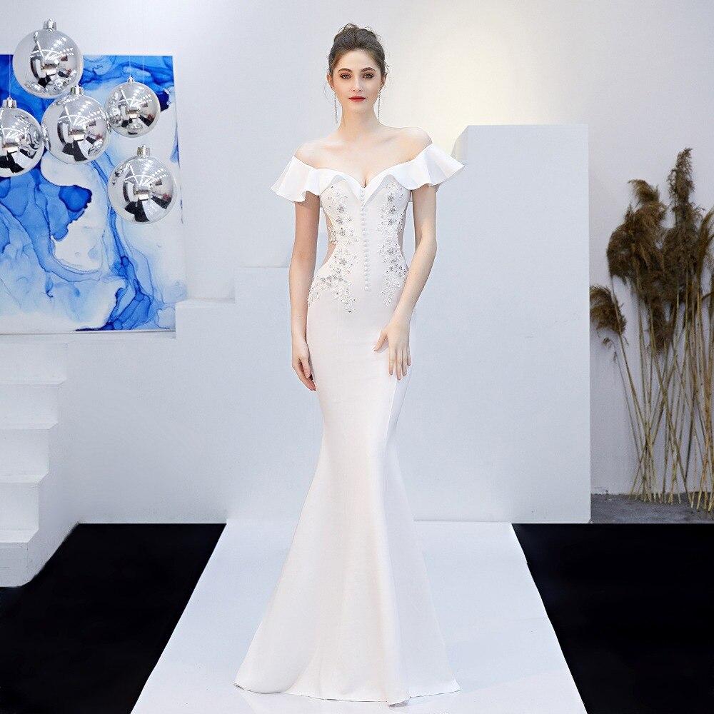 Victorian White Ruffle Off Shoulder Sleeveless Sexy Bridal Mermaid Long Dress Elegant Formal Party Dresses For Women Clubwear XL