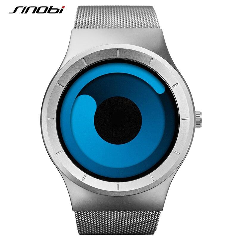 SINOBI Mens Watches Top Brand Luxury 2018 Stainless Steel Mesh Strap Quartz Watch Men Fashion Aurora Style Relogio Masculino