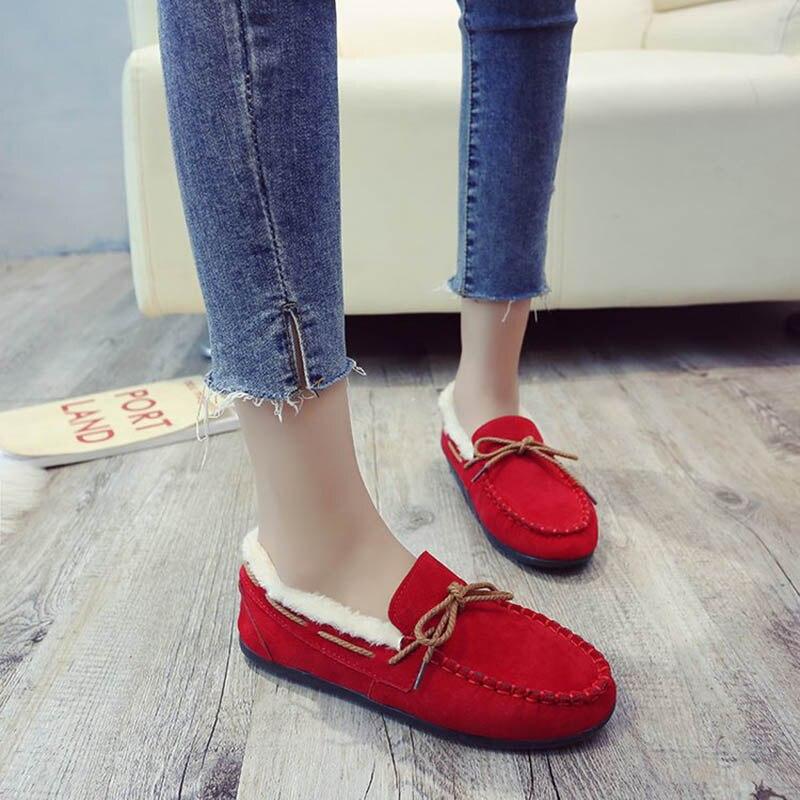 Chaussures Plus Fu Non black Lok Chaud Femelle Femmes Plates brown Red De 2019 Daim Décontractées Couleur gray Solide glissement Velours qxIq4rO