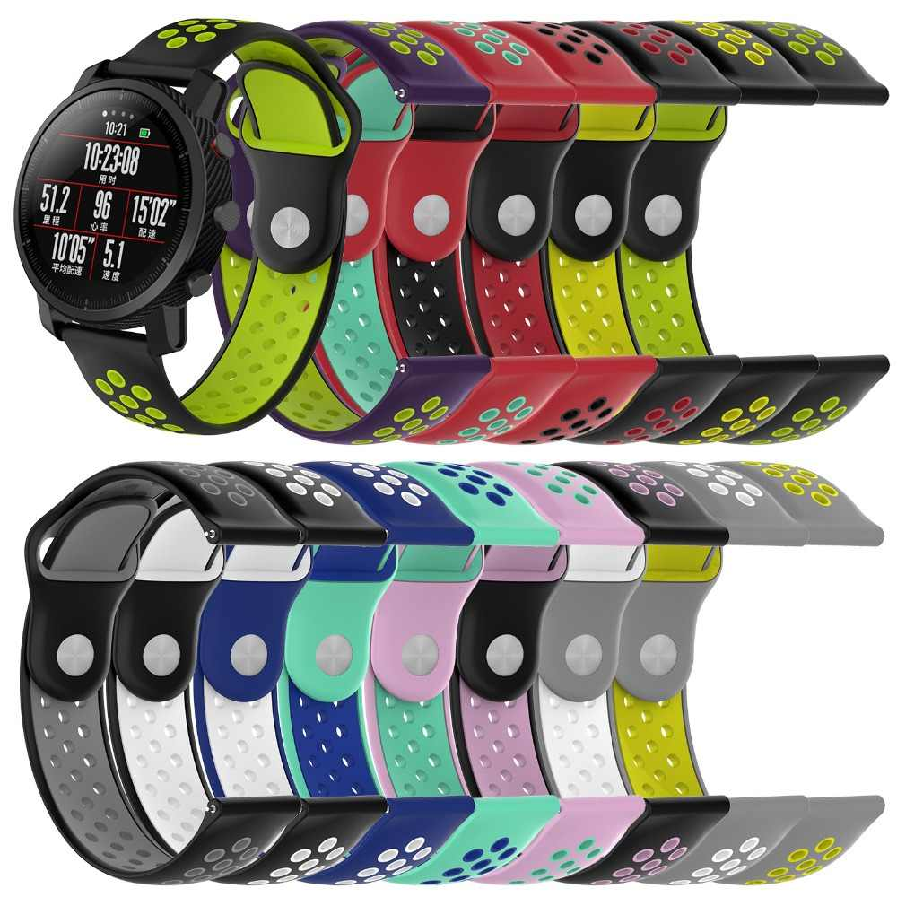 18 20 22mm Silicone Watchband Strap for Samsung Gear S3 for Xiaomi Amazfit 2 Stratos Amazfit Pace Quick Release Double Color
