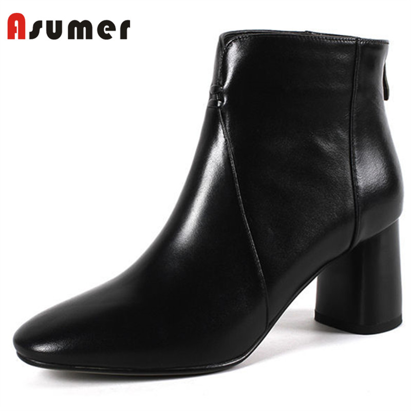 ASUMER 2018 NEW hot sale square toe ankle boots for women fashion thick heels autumn boots high quality genuine leather boots ASUMER 2018 NEW hot sale square toe ankle boots for women fashion thick heels autumn boots high quality genuine leather boots