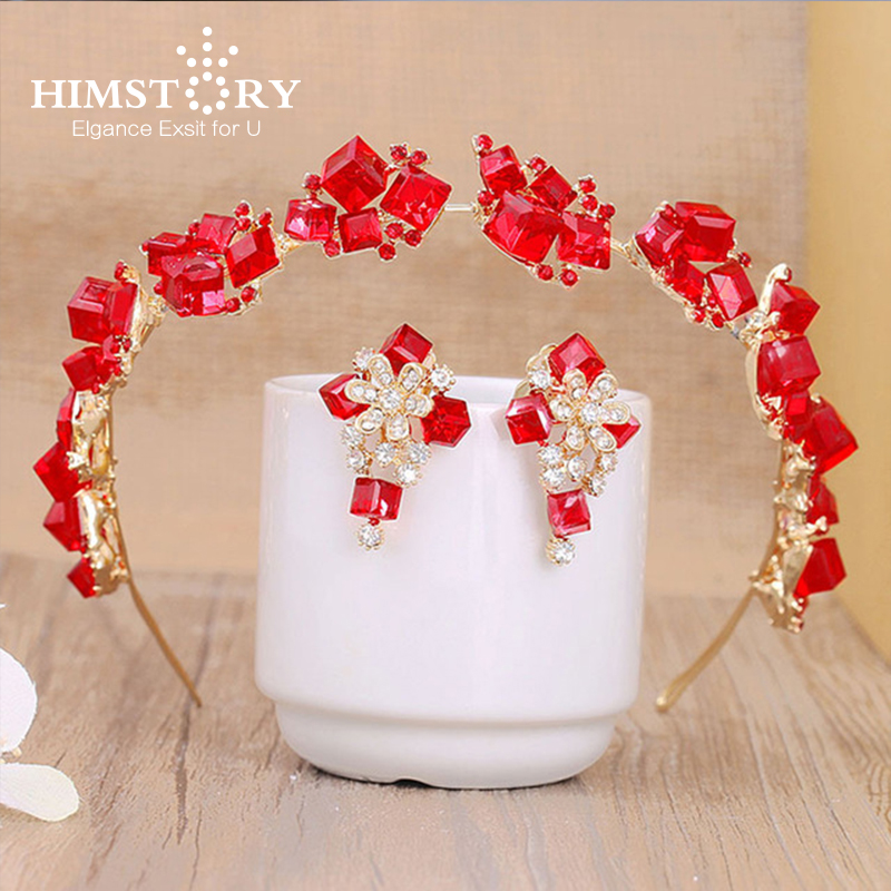 HIMSTORY Red Cube Crystal Beaded font b Tiara b font Earrings Set Headband Wedding font b