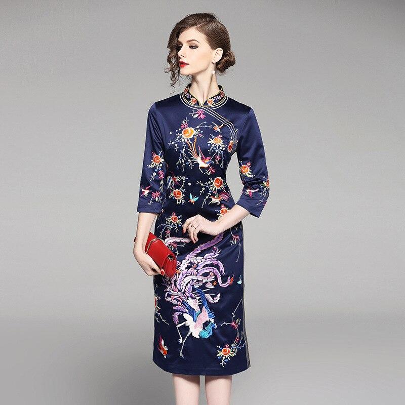 rose marine Mode Printemps 2018 Chaude Cheongsam Femmes Style Col Robes Apperal Chinois Fendu Broderie Robe Bleu Femme Mandarin Or De Mince qFqfUwH