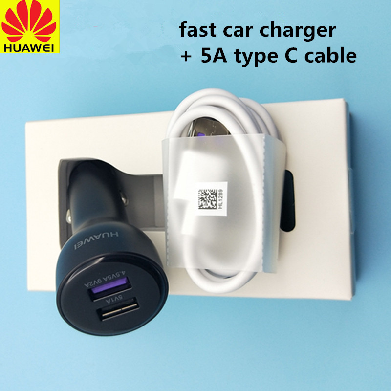 Original HUAWEI USB Supercharge car Charger Adapter+5A Type c Cable For HUAWEI P9 P10 Plus p20 10pro mate 9 10 pro Honor 8 9 V10