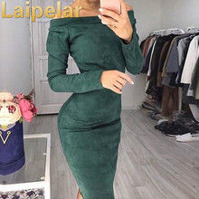 Laipelar 2018 Women Casual Cloth Autumn Spring Sexy Suede Solid Brown Red Green Vestidos Slim Fit Long Sleeve Skinny Midi Dress