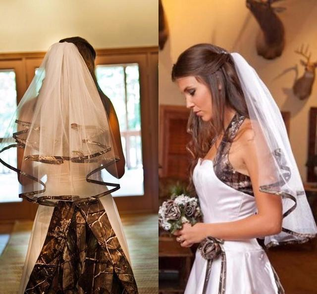 Hot Sale Camo Wedding Veils Two-Layer White Ivory Tulle with Camouflage Edge Women Bridal Veils Custom Made