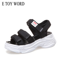 b760899b1f E TOY WORD Black White Sandals Summer Women Shoes 2019 New Wild Casual Shoes  Thick Soled