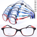 wholesale 1021 unisex pupil TR90 bicolor full-rim 80 degree flexible spring hinge rectangle optical glasses frame free shipping