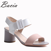 Bacia Sheep Skin Sandals Hollow Design Comfortable Summer Shoes Women Pink Genuine Leather High Quality Shoes