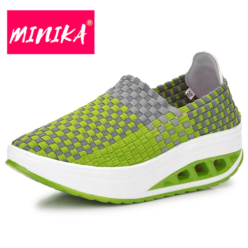 MINIKA Colorful Women Casual Shoes New Design Shallow Mouth Slip-On Flat Shoes Women Hand-woven Female Youth Trend Platform Shoe minika breathable mesh lace shoes women thick bottom shallow mouth women casual shoes slip on flat shoes women high quality