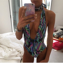 Women Bodysuit Monokini Cut Out Skin Leopard Yellow
