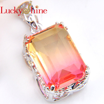 a347b09ed283 Luckyshine boda rectángulo miel BI-COLORED turmalina cristal circonita plata  moda colgante collar para mujer-Envío Gratis