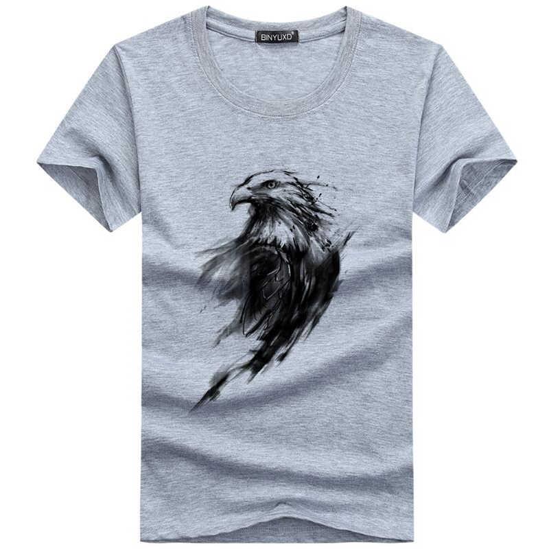 夏カジュアル男性の Tシャツおかしい印刷イーグルアイ Tシャツブランドファッション Tシャツ男性半袖トップ Tシャツシャツオムサイズ 5xl