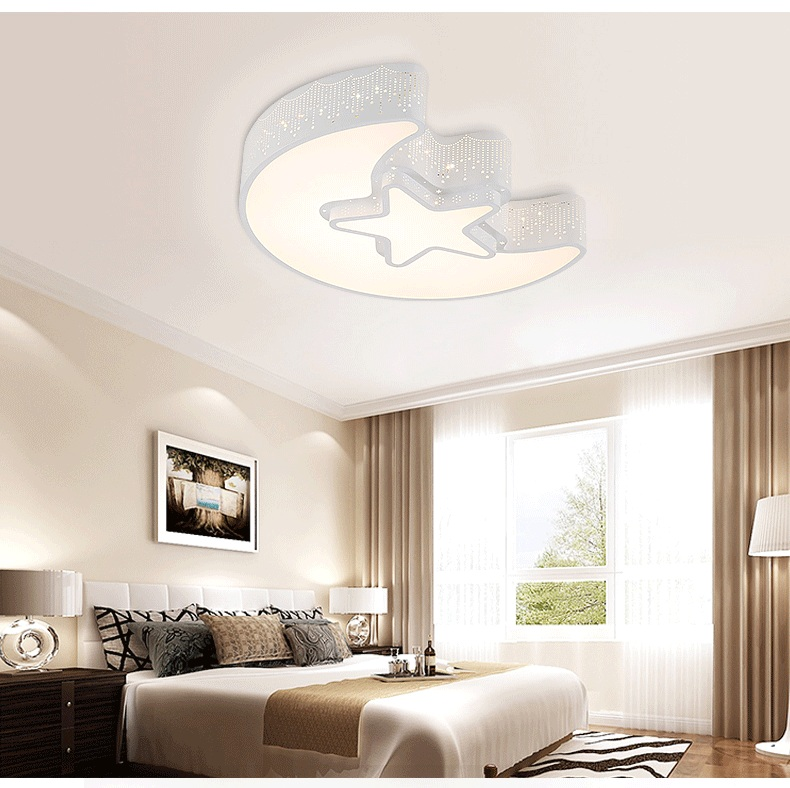 Hardware Moon & Stars LED Ceiling lamp Fashion Cartoon Study Bedroom Kids Room Ceiling light AC110-240V creative lovely cartoon moon and rabbit ceiling lamp smd led electrodeless dimmable light study children boy girl room bedroom