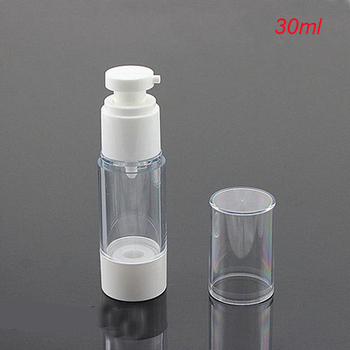 Hot 30ML white airless bottle, plastic  lotion vacuum bottle with airless pump,airless Refillable Bottles 30 ml wholesale