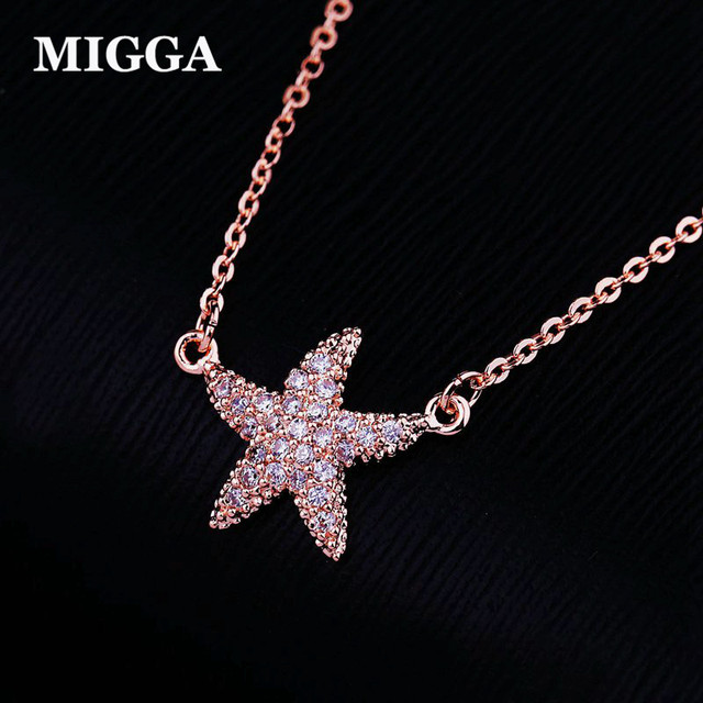 Aliexpress buy migga cubic zirconia pendant cute sea star migga cubic zirconia pendant cute sea star necklace for women girls rose gold color clavicle chain aloadofball Choice Image