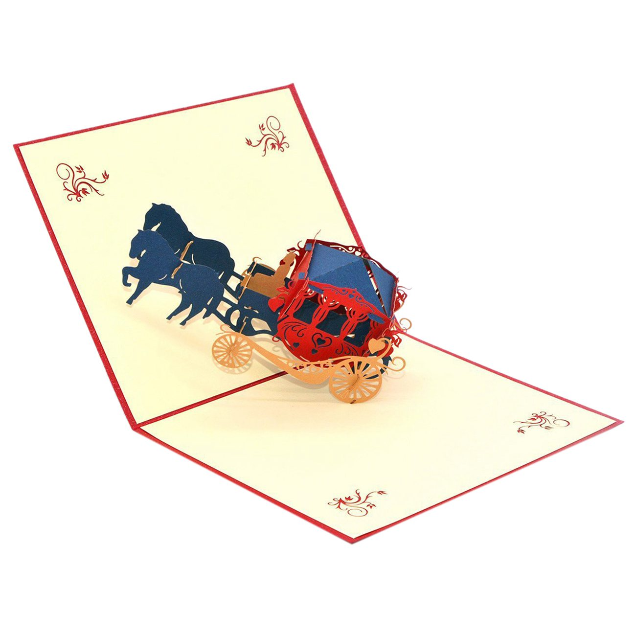 Vintage Carriage Handmade 3D Pop Up Greeting Cards Invitation Cards for Wedding, Valentines,Lovers,Couples/ Valentines Day Gi